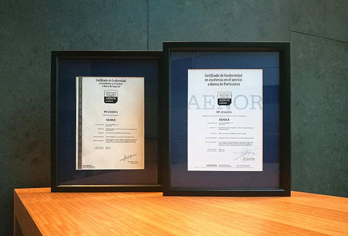AENOR otorga el certificado deexcelencia en el Servicio a la Banca de Negocios ABANCA