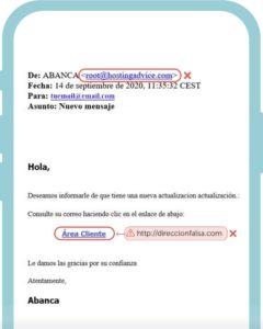Ejemplo de un email malicioso
